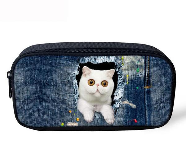 HUAPIN Travel Cosmetic Bag Small Blue Denim Cat Lady Cosmetic Bag