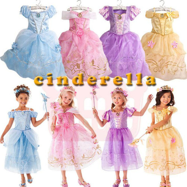 Aurora Princess Dress Pretty Baby Girls Clothing Sleeping Beauty Princess Cosplay Dresses Christmas Halloween Kids Dress D01
