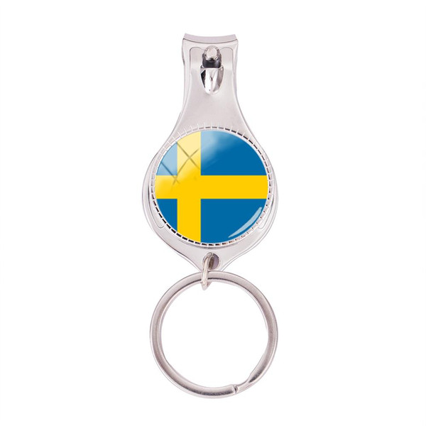 2018 Fashion Flag Of Sweden Multifunctional Keychain Hand Craft Nail Clipper Keyring Glass Dome Jewelry Nail Clippers