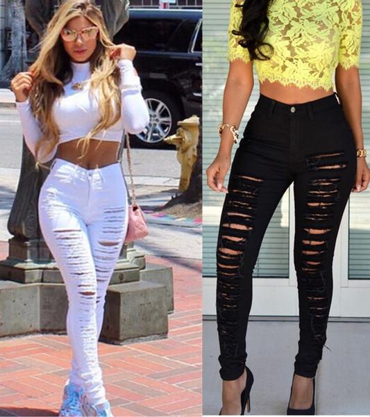 Mädchen Ladys Womens Slim Skinny Sexy Frauen Destroyed Zerrissene Denim Jeans Skinny Loch Hosen Hohe Taille Stretch-Jeans Schlank Bleistift Hose