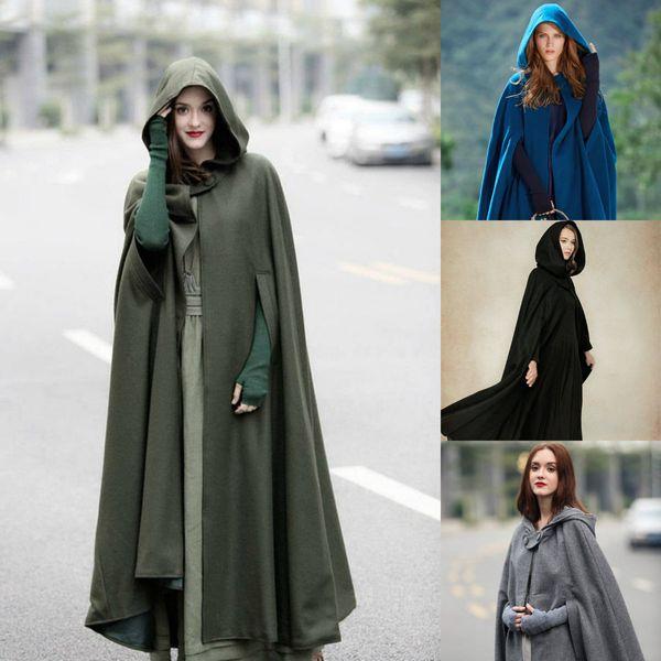 2019 Fashion Hooded Cloak Cape Women Alta qualità Matrimonio lungo Halloween Inverno caldo Cappotti Costume Robe