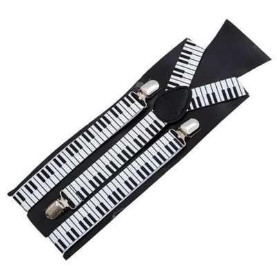 Unisex Erkekler / Kadınlar Piyano Anahtar Kurulu Desen Askı clip-Braces Elastik Parantez Askı Y-geri Jartiyer