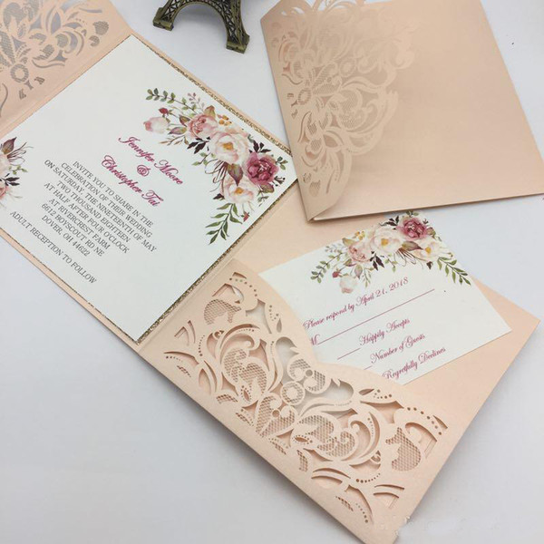 New Unique Laser Cut Wedding Invitations Cards High Quality personalized Hollow Flower Bridal Invitation Card Cheap Wedding Suppliers