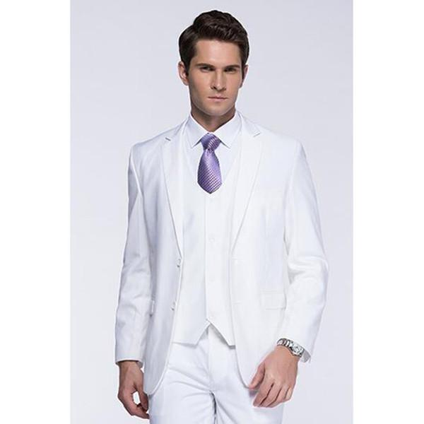 New Groomsmen Shawl Lapel Groom mens suit Tuxedos 2017 White Men Suits Wedding Best Slim Fit Man Blazer (Jacket+Pants+Vest+Tie)
