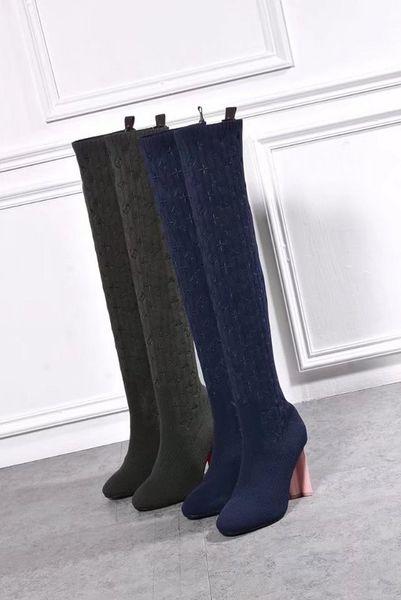 Lujo Nueva Primavera silueta de las mujeres Bota de caña alta 10CM calcetines ocasionales de los zapatos del bordado del diseño 22 pulgadas de largo Botas Tamaño 35-41