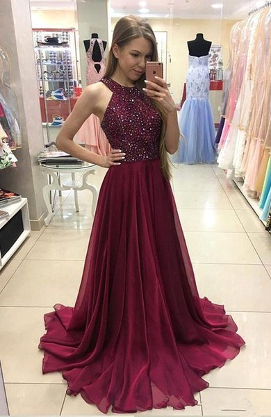 2018 Sexy Long Burgundy A Line Evening Dresses Crystals Beaded Halter Neck Chiffon Formal Prom Party Gowns Vestidos De Fiesta
