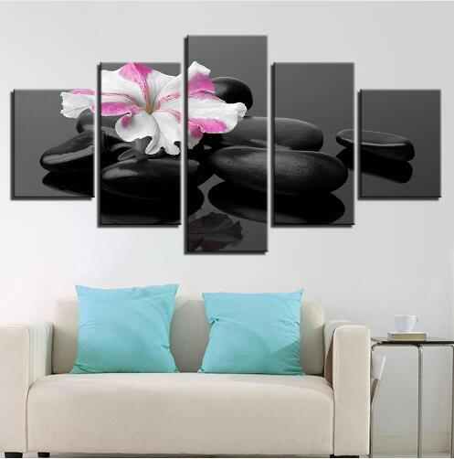 Free shipping Modular Pictures Room Wall Art 5 Piece Purple Hyacinth Flower Canvas Paintings Home Decor HD Prints LOVE Frame Poster