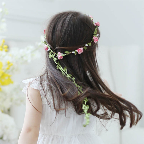 New Bridal Headpiece Bridesmaid Elastic Flower Headband Garland Handmade Floral Crown Hair Accessories Boho Rosette Hairband
