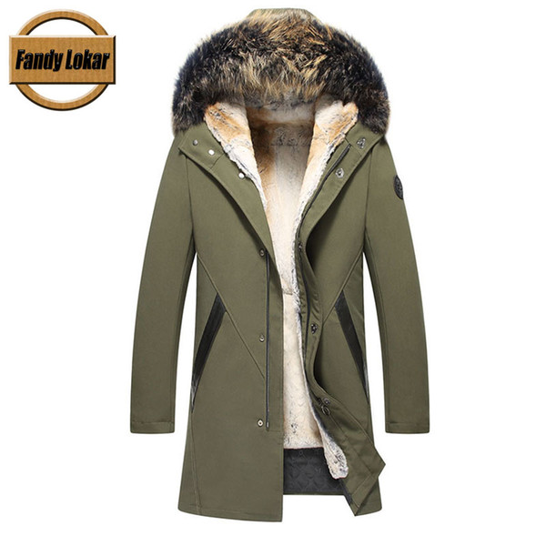 Fandy Lokar Plus Size S-8XL Real Fur Parka Coats Men Natural Raccoon Fur Hood Jackets Male Winter Detached Liner Rex Rabbit