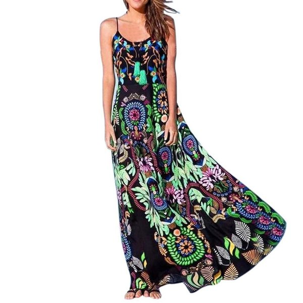 New arrival Bohemian Womens Floral Print Sling Long Dress Sleeveless Summer Beach Dress casual ladies dresses vestidos verano