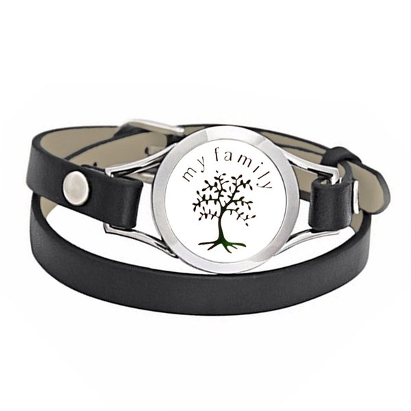 New Arrival My Family Tree 25/30mm 316L Stainless Steel Essential Oil Diffuser Locket Black Leather Band Bracelet With 10 Free Pads