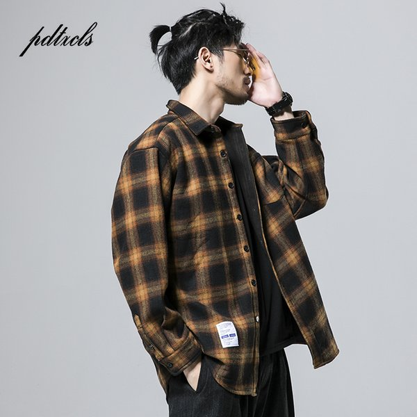 Estilo japonés Marca de moda Bump Color Plaid Espesar Fleece Camisas de los hombres Hip Hop Otoño Casual Plaid Vintage Camisas Masculinas