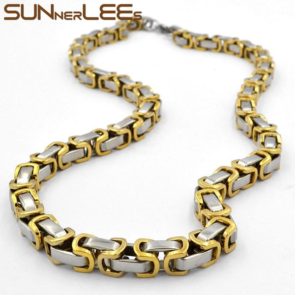 Fashion Jewelry 5mm 7mm Stainless Steel Necklace Silver Gold Color Box Byzantine Link Chain For Mens Womens SC36 N