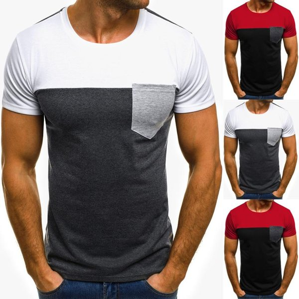 Fashion Men Muscle T-Shirt Slim Casual Fit Short Sleeve Patchwork Pocket Top Summer 2018 Jy4