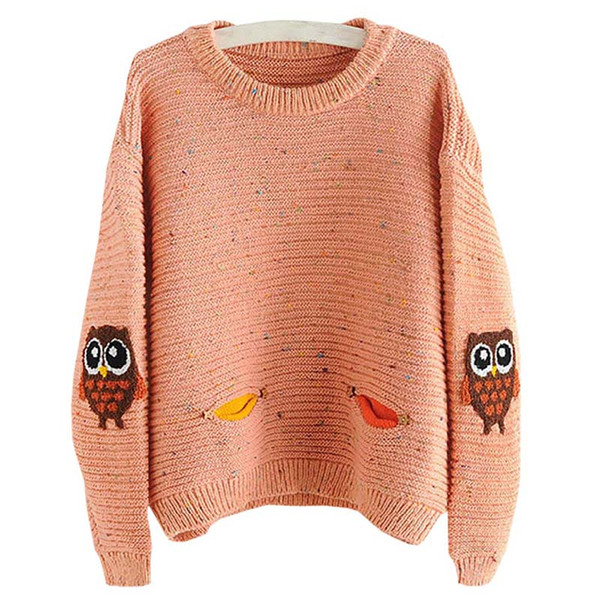 2018 Womens Winter Warm Pullover Female Fashion Casual Sweater Printed With Pocket Loose Cashmere Sweater Pullovers