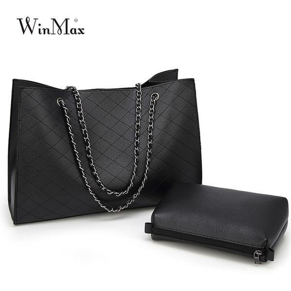 vendita all'ingrosso famoso designer di marca borse in pelle da donna grande catena del reticolo del daimond qualità grande borsa di tote casual nero inverno bolsa