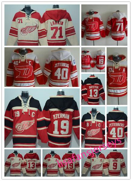 Sudaderas de diseño para hombre Camisetas de hockey Detroit Red Wings 40 Henrik Zetterberg 71 Larkin 13 Datsyuk 19 Yzerman 9 Howe 14 Sudadera con capucha de Nyquist
