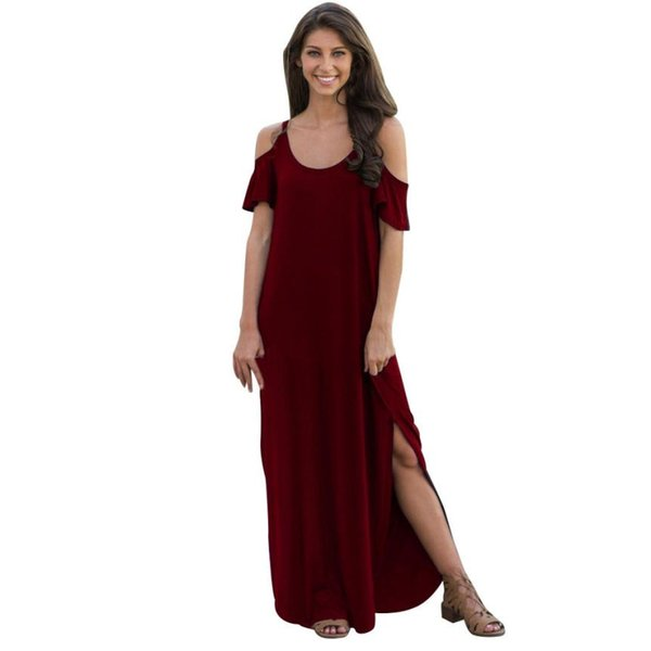 00a7755f8018 Women Long Dress Short Sleeve Solid Open Shoulder Split Maxi Dresses Lady  Loose Casual Summer Dress