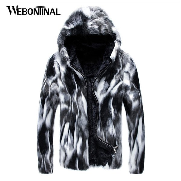 2018 Autumn Winter New Faux Fur Jackets Men Coat Casual Hooded Korean Style Thick Fashion Overcoat Jacket Coats Clothing MJ046