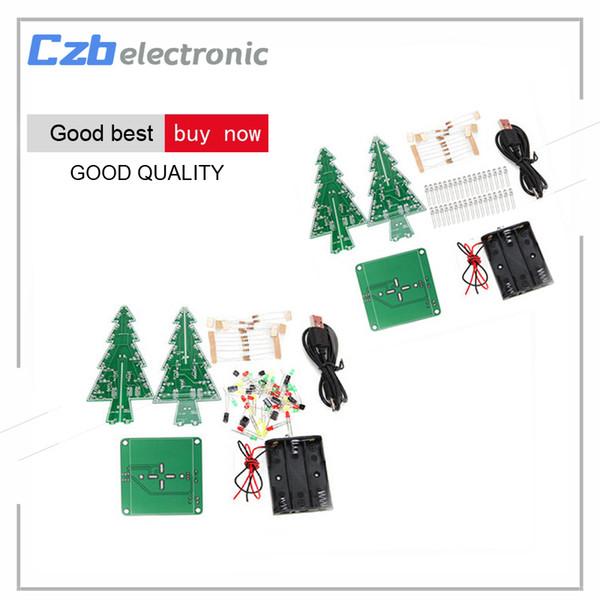 3D Árbol de Navidad Flash LED Kit de bricolaje Tridimensional Colorido RGB LED Circuito Kit Fun Fun Suite Regalo de Navidad