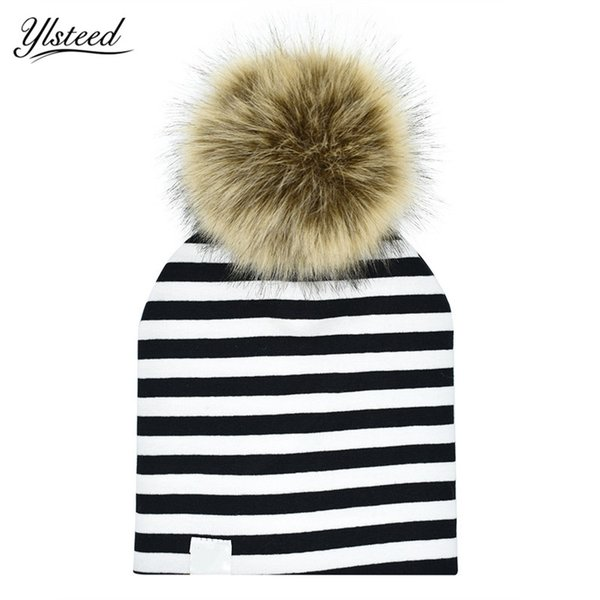 Cotton Stripe Baby Hat Faux Raccoon Fur Baby Boy Girl Hat Autumn Winter Pom Pom Kids Cap Removable Fur Ball Cap Children Beanie