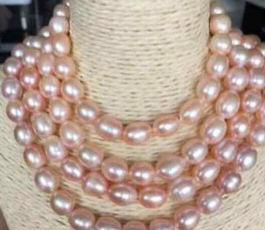 Beautiful Natural Oval 11-12mm South Seas Gold Pink Pearl Necklaces 50inch 14k Gold
