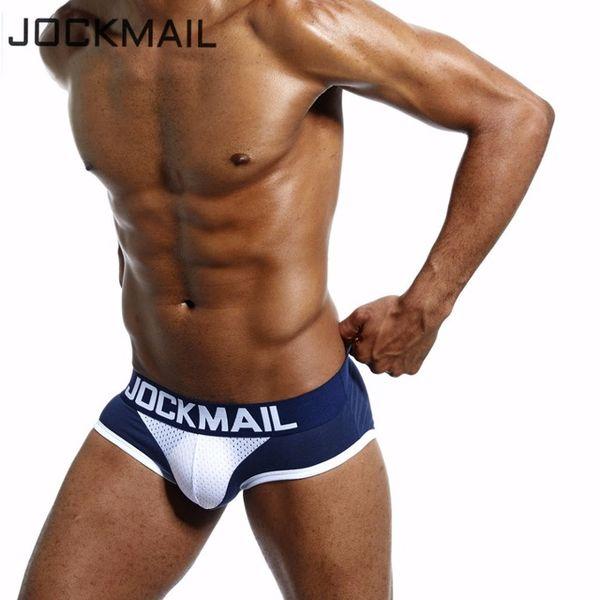 JOCKMAIL marca Homens Underwear Briefs WJ U convexo malha respirável Penis bolsa slip homme Algodão sexy cuecas homens gays Briefs Bikini