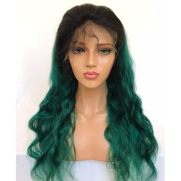 2018 new style glueless top quality full lace hair wig 1b/ green Brazilian virgin human hair lace wigs for women