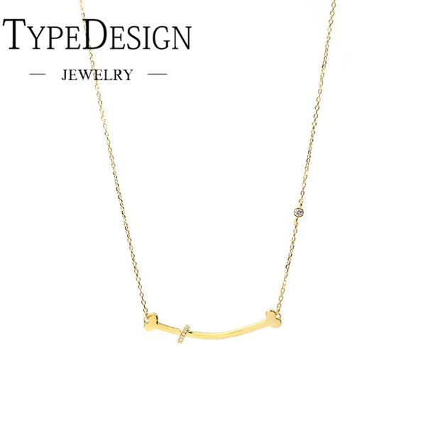 TYPE JEWELRY childlike innocence of boring bone necklace Sterling silver smiling face neck chain clavicle chain female dog bone
