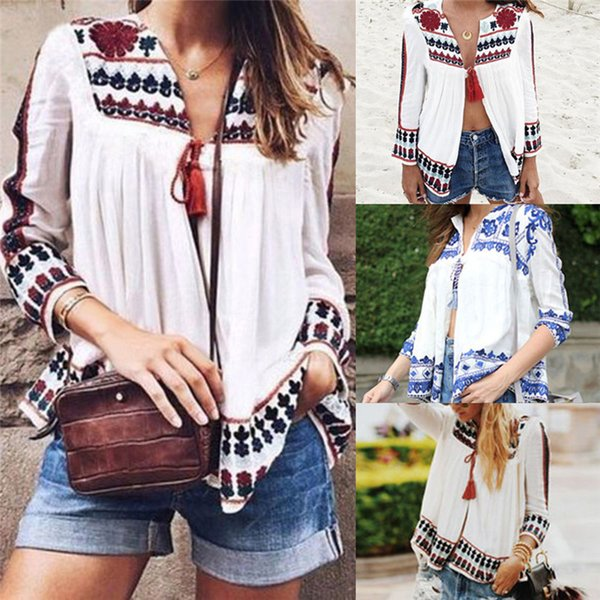 Women Long Sleeve Blouses Fashion Vintage Floral Print Blouses Loose Shawl Kimono Cardigan Boho Chiffon Tops For Women