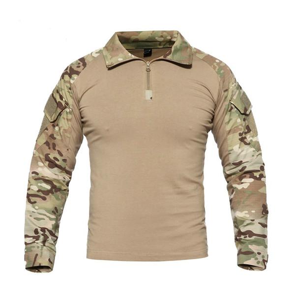 Nova Camuflagem Camisa Homens Multicam Uniforme Tático Manga Longa T-Shirt Roupas de Paintball Camisa de Combate Do Exército
