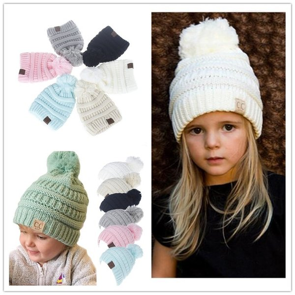 Compre Niños Invierno Cc Knitting Beanie Pom Knit Hats Niños Niñas ...