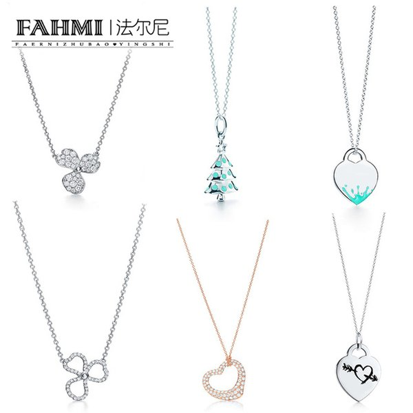 FAHMI 100% 925 Árbol de navidad de plata esterlina Oro rosa Collar de amor Serie de rimas Flor de diamante pavimentada Collar colgante