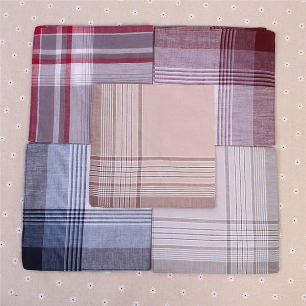20pcs Multicolor place Stripe Plaid Mouchoirs Hommes Classique Motif Parti Vintage Coton Pocket Hanky Mouchoir 40 * 40cm