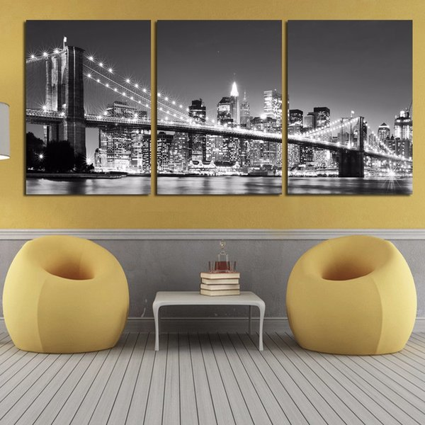 Modular Picture Canvas Painting 3 Pieces New York Brooklyn Bridge Hd Print Stick On The Wall For Living Room Home Decoration