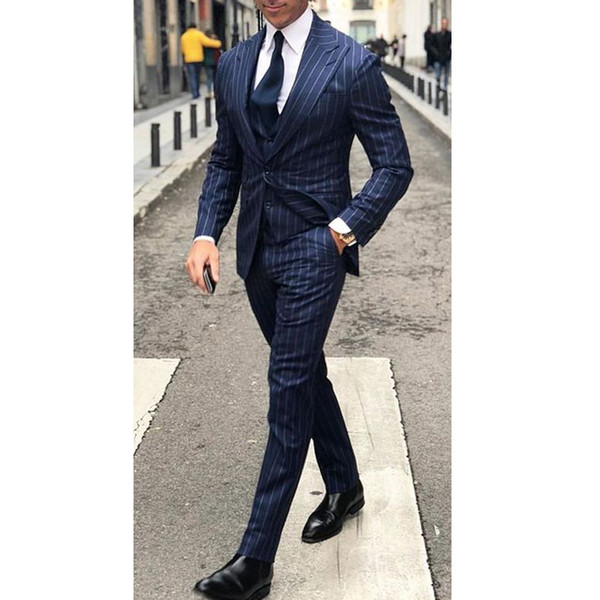 blue pinstripe business men suits for wedding groom tuxedos peaked lapel three piece jacket pants vest tailor made blazer