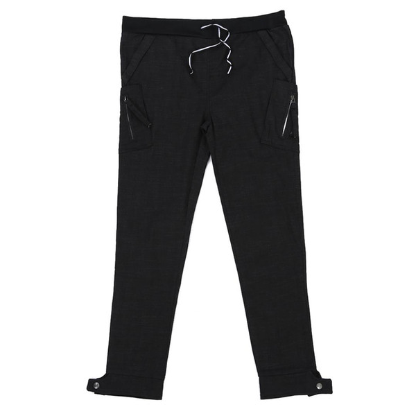 Men Casual Long Pants Ankle Tight Black Korean Style