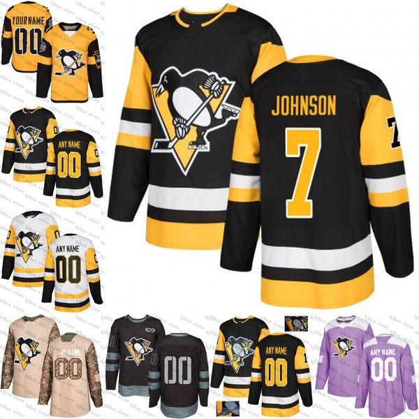 2018 new 7 Jack Johnson Pittsburgh Penguins Blue White Black gold black camo Hockey Jerseys Stitched S-3XL