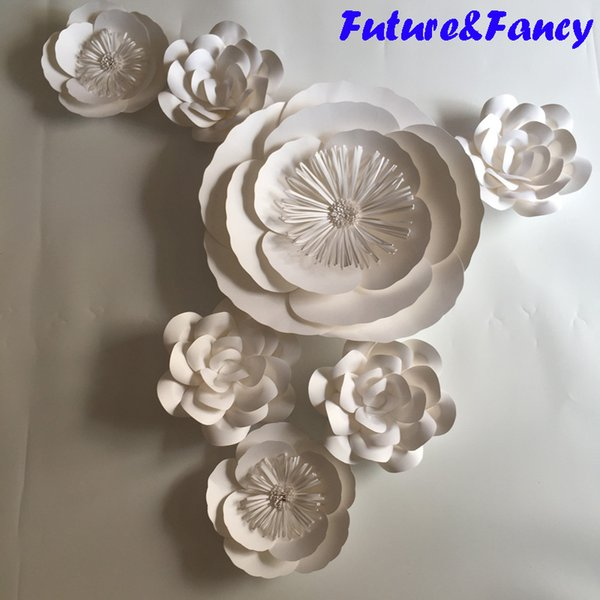 7PCS Set White Giant Paper Flowers For Wedding Backdrops Bridal Shower Baby Shower Party Decor Flower Centerpiece Wrist Corsage