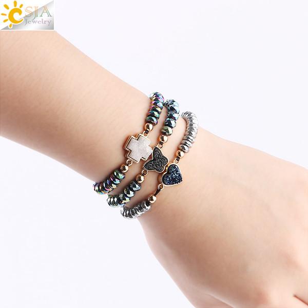 CSJA Women Healing Hematite Bracelet 6mm Balance Stone Beaded Bracelets Love Heart Cross Charms Druzy Druse Natural Gems Summer Jewelry F605