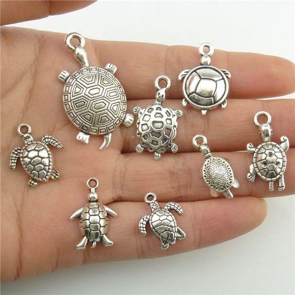 GLOWCAT B8Q266 Mixed 8pcs/set Alloy Sea Animal Turtle Tortoise Silver Pendant Charms Jewelry Accessories