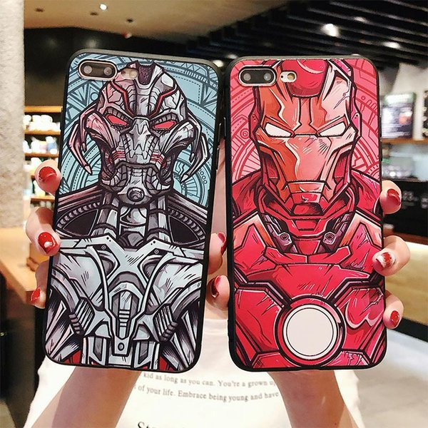 One Piece Iron Man Ultron Marvel Comics Cartoon Design Phone Case Printing TPU Case for IPhone XS MAX XR 6 7 8 S PLUS X Protector Cover
