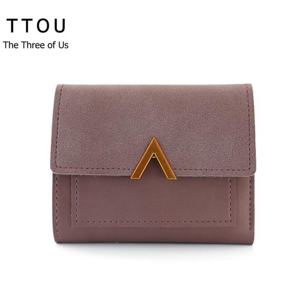 designer TTOU Women Fashion Trifold Short Wallet Luxury Designer Wallets Portomonee Portfolio Ladies Short Solid Coin Purse