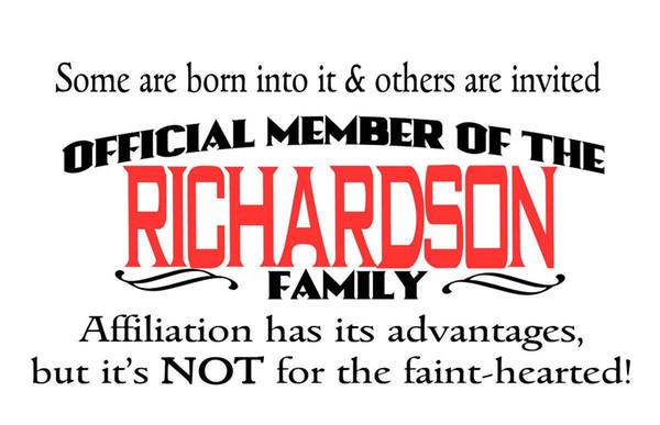 100/% Richardson Name Family Richardson Surname Mens T-Shirt