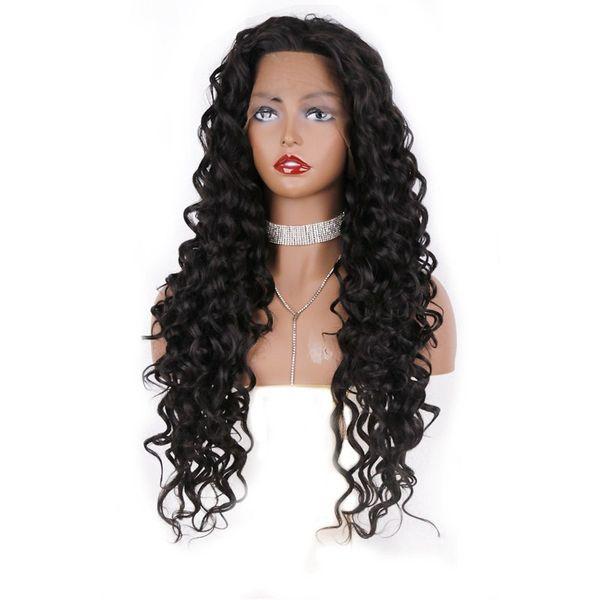 Freies Verschiffen Volle Dichte Schwarz Tiefe Welle Synthetische Haar Günstige Perücke Hochtemperatur Glueless Lace Front Perücken für Afroamerikaner Frauen