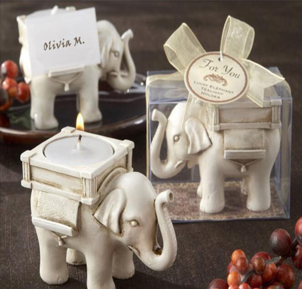 "Wholesale NEW ARRIVALWedding Favors ""Lucky Elephant"" Tea Light Candle Holder Polyresin Candle Holder hot sale Free Shipping"