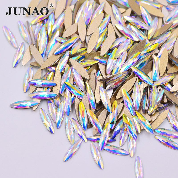 JUNAO 50pcs 3*11mm Crystal AB Glass Nail Rhinestone Flat Back Nail Art Stones Glue On Fancy Crystals Non Hotfix Strass Beads for DIY Crafts