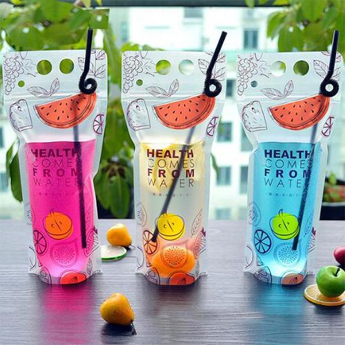 50pcs 500ml-550ml Portable Stand up Plastic Ziplock Bag Hot and Cold Summer Beverage Bag Plastic Food Drinking Pouch