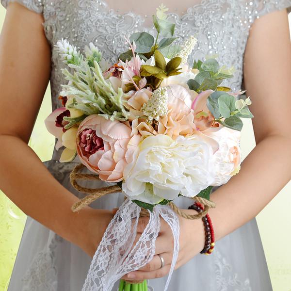 Pourpre Rose Rouge Mariée Bouquet De Mariage Coloré Décoration De Mariage Artificielle Fleur De Demoiselle D'honneur Perles Perles Mariée Tenant Des Fleurs CPA1540