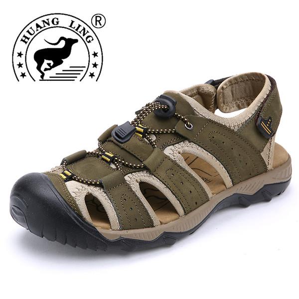 2017 HUANGLING лето мужчины сандалии Повседневная обувь корова кожа высокое качество удобная обувь размер 38-47